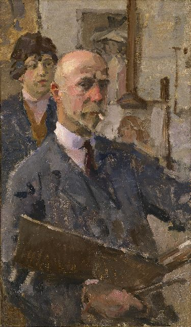 Israels I.L.  | Self-portrait with model in studio, oil on canvas, 86.3 x 50.3 cm, signed l.l. and executed ca. 1919