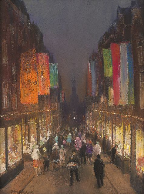 Herman Heijenbrock | The Kalverstraat with flags, by night, pastel on paper, 61.0 x 39.3 cm, signed l.l.