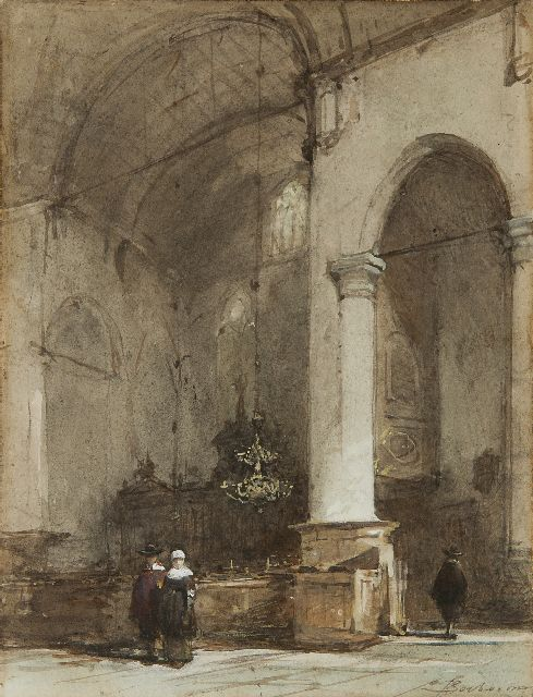 Johannes Bosboom | Interior of the Grote Kerk, Maassluis, watercolour on paper, 28.0 x 21.5 cm, signed l.r.
