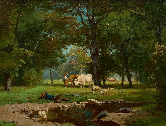 Gerard Bilders | Cowherds and cattle in a forest, oil on canvas, 31.0 x 41.2 cm, signed l.l. and painted early 1860's