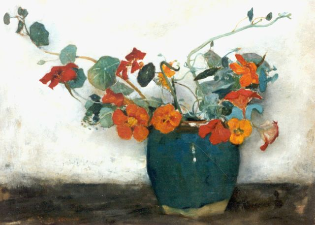 Floris Arntzenius | Nasturtium in a ginger jar, oil on canvas, 36.5 x 50.5 cm, signed l.l.