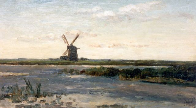 Paul Joseph Constantin Gabriel | A polder landscape with a windmill, oil on panel, 25.0 x 44.0 cm, signed l.r. and dated '74