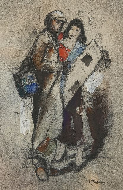 Jan Rijlaarsdam | Musician and woman at the bar, black chalk and watercolour on paper, 26.3 x 17.5 cm, signed l.r.