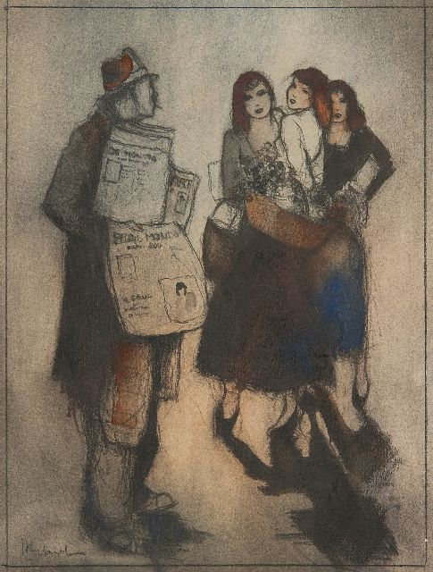 Jan Rijlaarsdam | A newspaper seller and flower girls, Paris, black chalk and watercolour on paper, 26.4 x 19.9 cm, signed l.l.