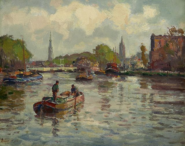 Evert Moll | View of the Delftse Vliet near Delft, oil on canvas, 23.6 x 29.1 cm, signed l.l.