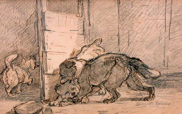 Henriette Ronner-Knip | The fight, pen and pencil on paper, 20.0 x 31.0 cm, signed l.r.