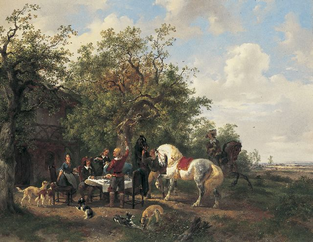 Wouterus Verschuur | An elegant company in a landscape, oil on canvas, 57.5 x 73.5 cm, signed l.r. and painted between 1838-1840