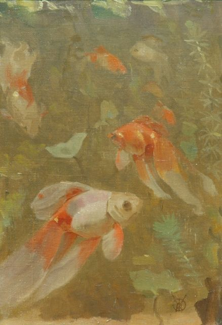 Gerrit Willem Dijsselhof | Veiltails, oil on canvas laid down on board, 24.3 x 16.9 cm, signed l.r. with monogram