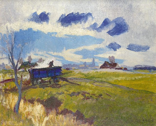 Jan Altink | Landscape in Groningen with blue wagon, oil on canvas, 64.1 x 78.2 cm, signed l.r. and executed ca. 1930
