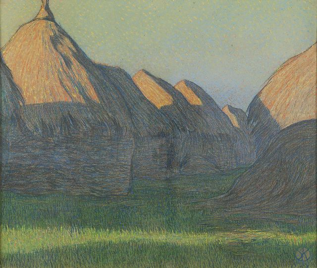 Roos S.H. de | Haystacks, pastel on paper 40.0 x 48.0 cm, signed l.r. with monogram