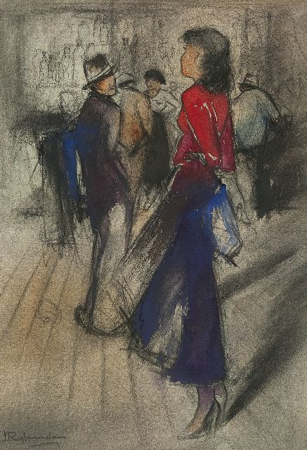 Jan Rijlaarsdam | Flirtation, chalk and watercolour on paper, 38.5 x 27.5 cm, signed l.l.