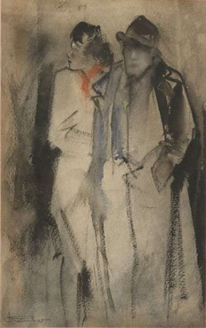 Jan Rijlaarsdam | Man and lady at nightfall, chalk and watercolour on paper, 38.6 x 27.2 cm, signed l.l.