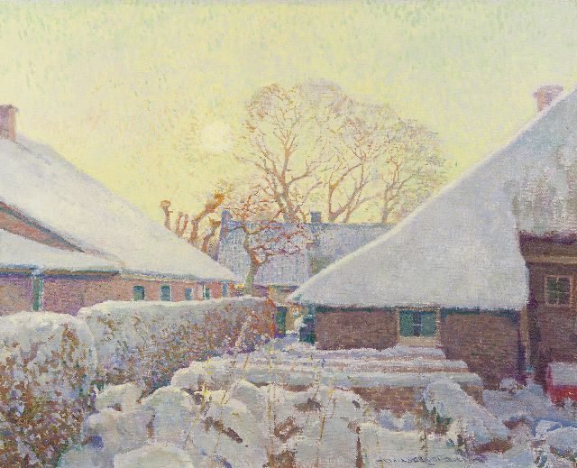 Hessel de Boer | Snow-covered farms in Blaricum, oil on canvas, 60.2 x 74.0 cm, signed c.r.