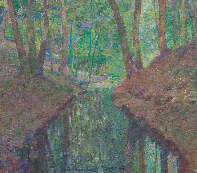 Hessel de Boer | A forest creek, oil on canvas, 45.1 x 50.0 cm, signed l.m.