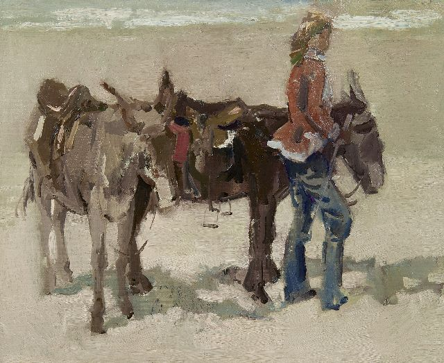 Hessel de Boer | A girl with donkeys on a beach, oil on canvas, 46.0 x 55.8 cm