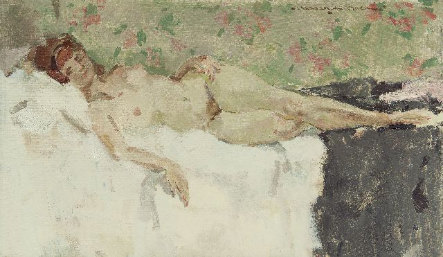 Hessel de Boer | Reclining nude, oil on canvas, 50.0 x 85.1 cm, signed u.r.