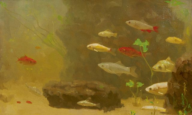 Gerrit Willem Dijsselhof | Gold- and silverfish, oil on canvas, 31.0 x 50.0 cm, signed l.r. with monogram