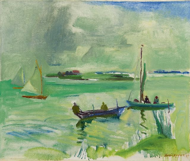 Harrie Kuijten | Sailing boats on a lake, oil on canvas, 50.5 x 60.3 cm, signed l.r. and dated '47