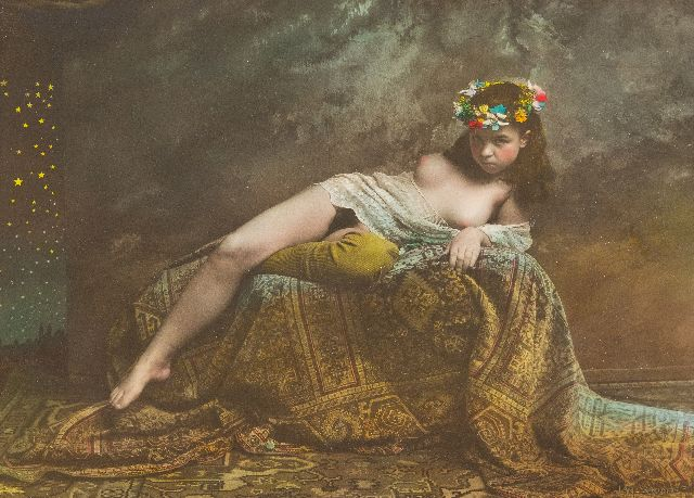 Jan Saudek | Reclining nude with coronet of flowers, photo, silver gelatin print, hand colored, 29.9 x 40.0 cm, signed l.r. and executed ca. 1960-1995
