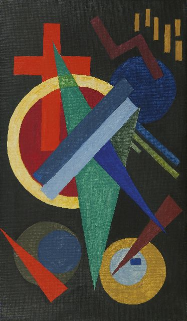 Wobbe Alkema | Improvisation, wax paint on canvas, 80.3 x 47.0 cm, signed on the reverse and dated 1929 on the reverse