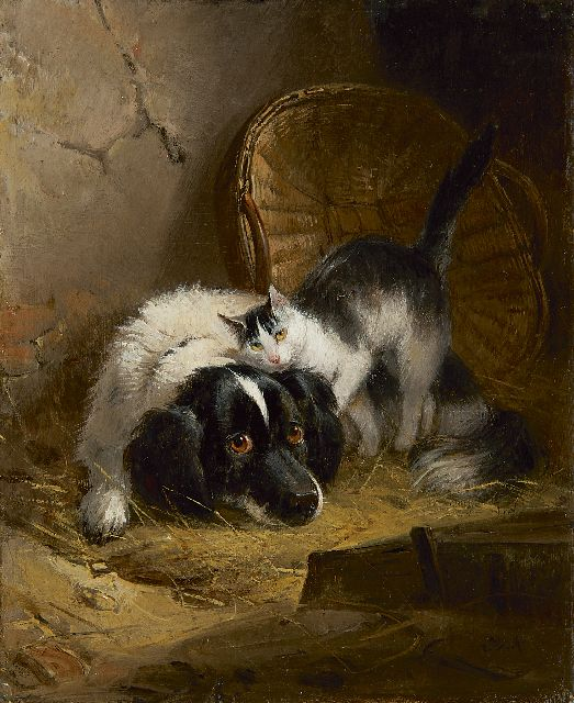 Henriette Ronner-Knip | Best friends, oil on panel, 19.4 x 15.8 cm, signed l.r. with initials