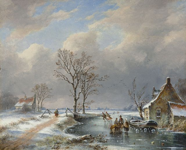 George Henry Hendriks | A winter landscape with skaters and a sledge, oil on panel, 29.2 x 36.3 cm, signed l.l.