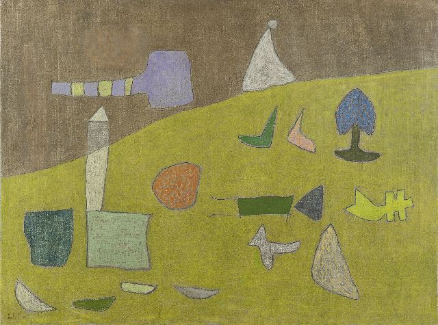 Leewens W.J.  | Figures in a green landscape, oil on canvas 60.1 x 80.1 cm, signed l.l.