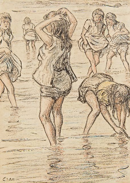 Staller G.J.  | Girls paddling in the sea, chalk and Indian ink on paper 33.8 x 24.0 cm, signed l.l.
