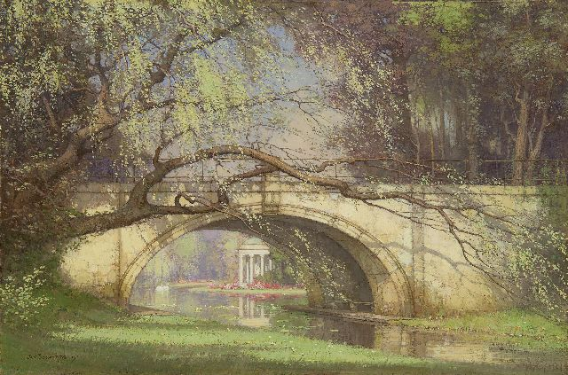 Jan Bogaerts | Bridge in the garden of Versailles, oil on canvas, 40.3 x 60.3 cm, signed l.l. and dated 1915