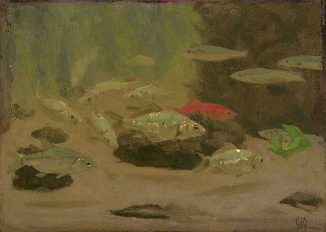 Gerrit Willem Dijsselhof | Fish in the Artis aquarium, oil on canvas, 28.7 x 39.9 cm, signed l.r. with monogram
