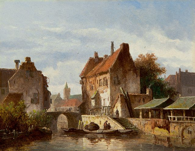 Adrianus Eversen | Moored boats in a canal in Utrecht, oil on panel, 16.6 x 21.0 cm