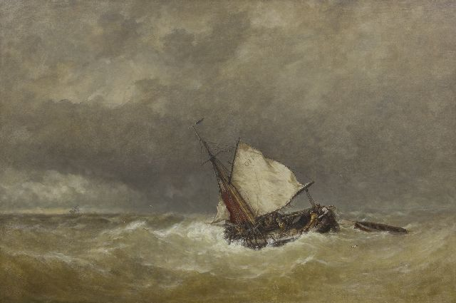 Jan Frederik Schütz | Sailing vessel in a storm at sea, oil on canvas, 70.3 x 105.2 cm, signed l.l. and dated '53 and '87