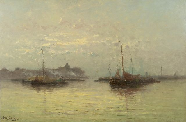 Willem Johannes Schütz | Sailing vessels at anchor (near Dordrecht), oil on canvas, 70.5 x 105.2 cm, signed l.l. and dated '97