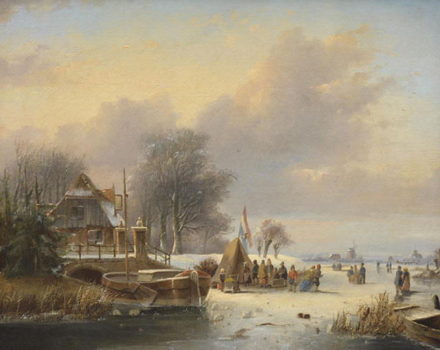 Johannes Petrus van Velzen | Ice skaters, oil on canvas, 44.0 x 51.5 cm