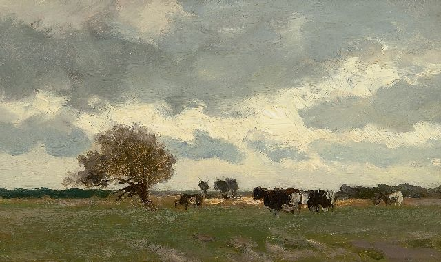 Jan Hendrik Weissenbruch | A Dutch landscape with cows in a meadow, oil on panel, 15.0 x 25.1 cm