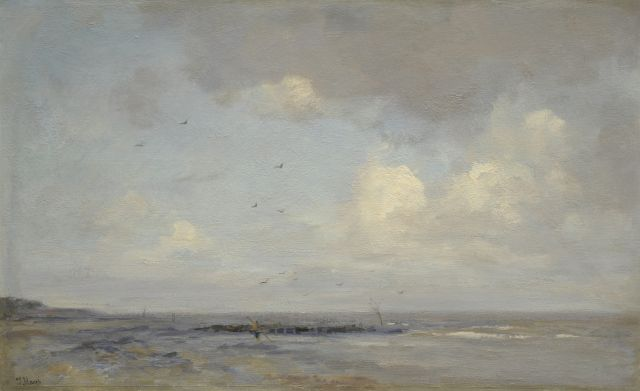 Jacob Maris | A view of a beach with a shrimper, oil on canvas, 49.4 x 78.1 cm, signed l.l.