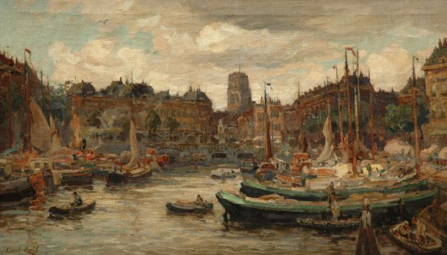 Evert Moll | The Oude Haven with the Sint Laurenskerk, Rotterdam, oil on canvas, 35.4 x 61.1 cm, signed l.l.