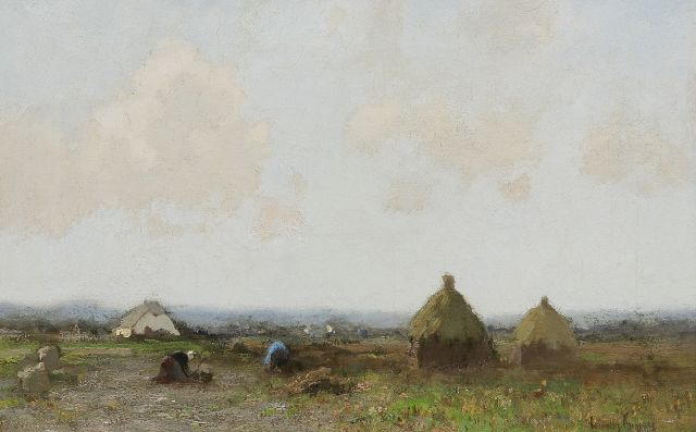 Cornelis Kuijpers | Landscape with farmers, oil on canvas, 28.2 x 43.9 cm, signed l.r.