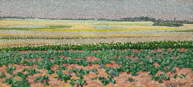 Co Breman | Summer landscape with potatofields in the Gooi region, oil on canvas, 18.7 x 40.5 cm, signed l.r. and dated 'L 1 7 1903'