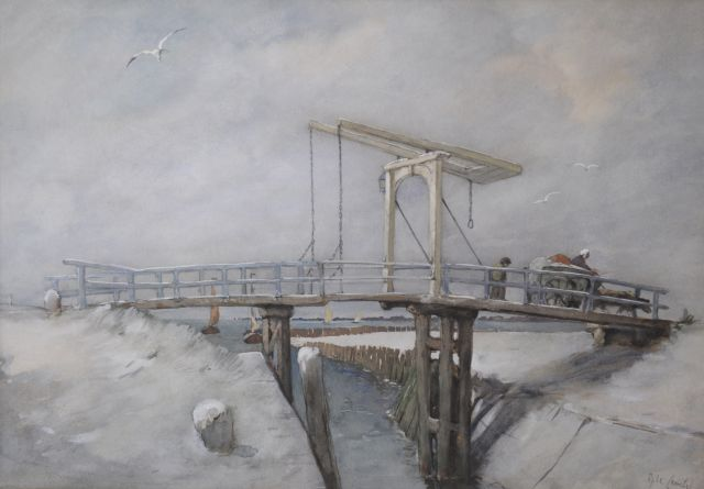 Adolf le Comte | Figures on a drawbridge in winter, watercolour on paper, 45.5 x 64.6 cm, signed l.r.