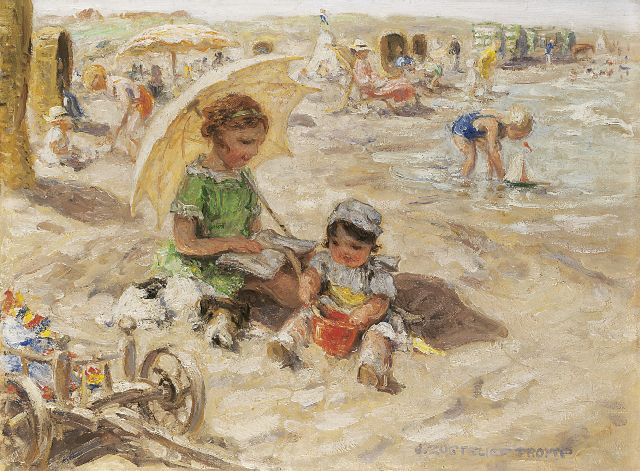 Jan Zoetelief Tromp | A day at the beach, oil on canvas, 30.0 x 40.0 cm, signed l.r. and on the reverse