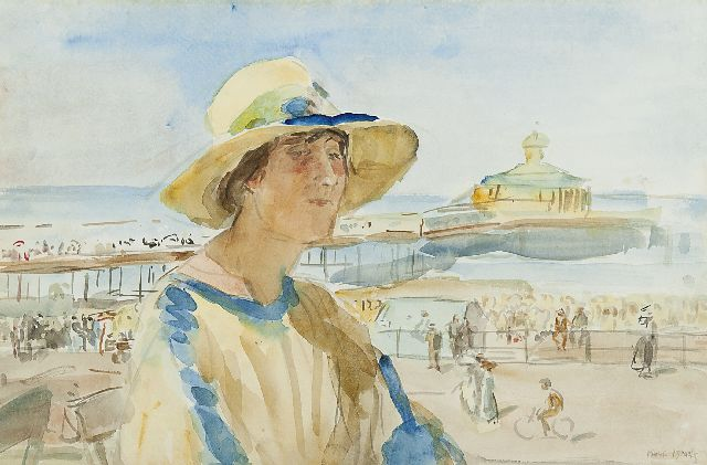 Isaac Israels | Woman at the beach of Scheveningen, watercolour on paper, 32.5 x 50.0 cm, signed l.r.