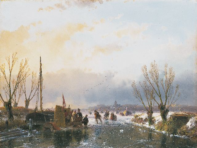 Andreas Schelfhout | A winter landscape with skaters and a 'koek-en-zopie', oil on panel, 21.6 x 28.9 cm, signed l.l. and dated 1850