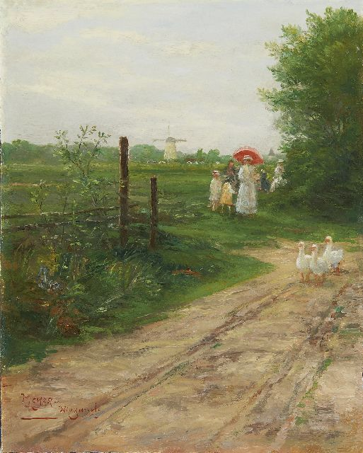 Rolf Dieter Meyer-Wiegand | The Sunday stroll, oil on panel, 19.9 x 15.9 cm, signed l.l.