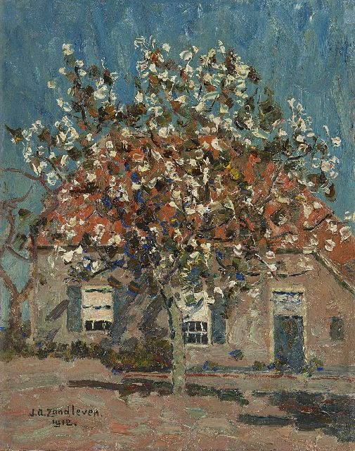 Zandleven J.A.  | Flowering fruit tree in front of a farm, oil on canvas laid down on panel 40.2 x 32.1 cm, signed l.l. and dated 1912