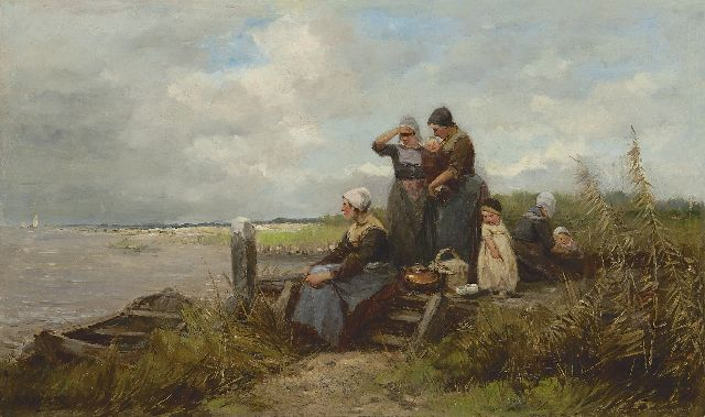 Johannes Marius ten Kate | Waiting for the fishing fleet, oil on panel, 29.1 x 48.8 cm, signed l.l.