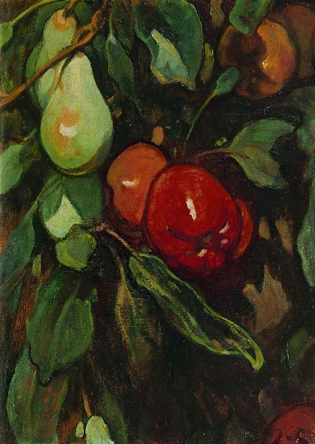 Jacobus van Looy | Red apples and pears, oil on panel, 37.0 x 26.7 cm, signed l.r. with initials