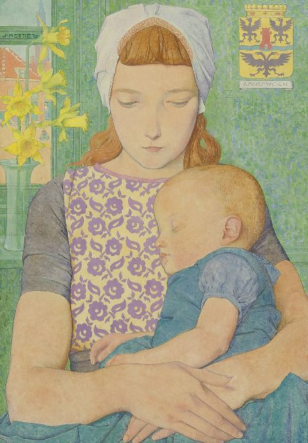 Jan Heyse | Mother and child from Arnemuiden, oil on panel, 32.8 x 22.9 cm, signed u.l. and dated '09