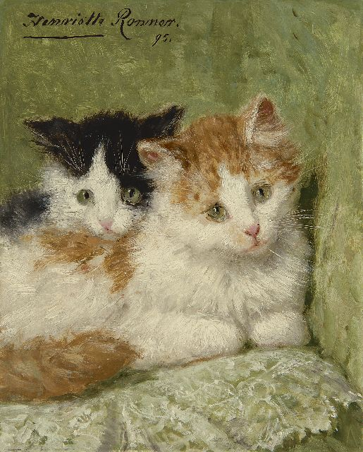 Henriette Ronner-Knip | Two kittens sitting on a cushion, oil on panel, 20.9 x 16.7 cm, signed u.l. and dated '95
