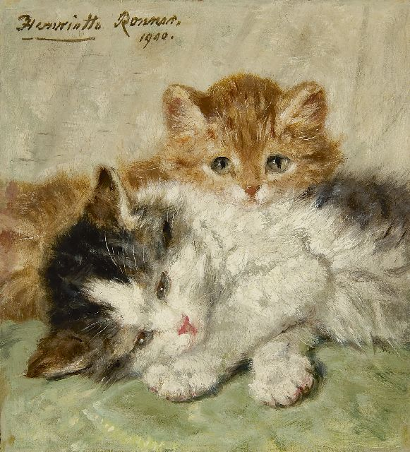 Henriette Ronner-Knip | Snoozing kittens, oil on panel, 17.9 x 16.5 cm, signed u.l. and dated 1900